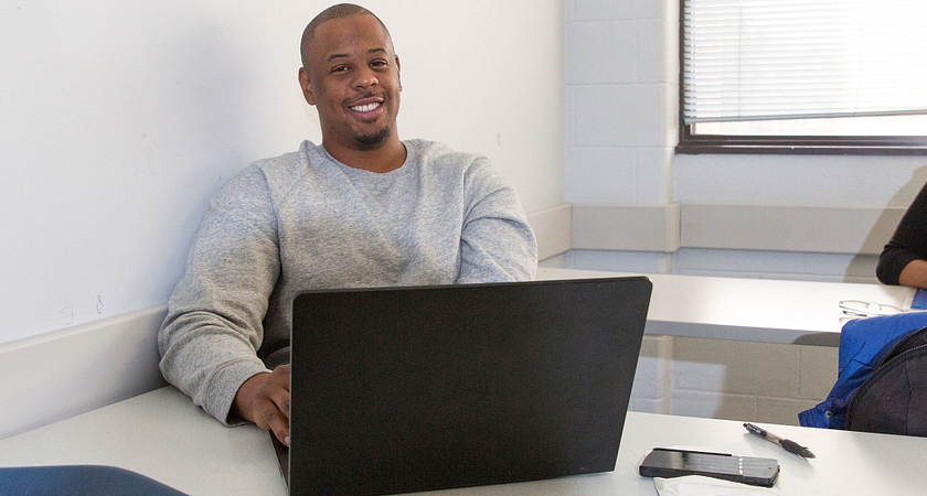 Picture of Centennial College student at computer