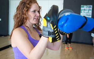 picture of a Centennial College student at the self-defence training session in the Ashtonbee Campus gym