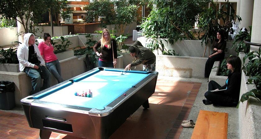 Picture of the pool hall in Centennial College's residence