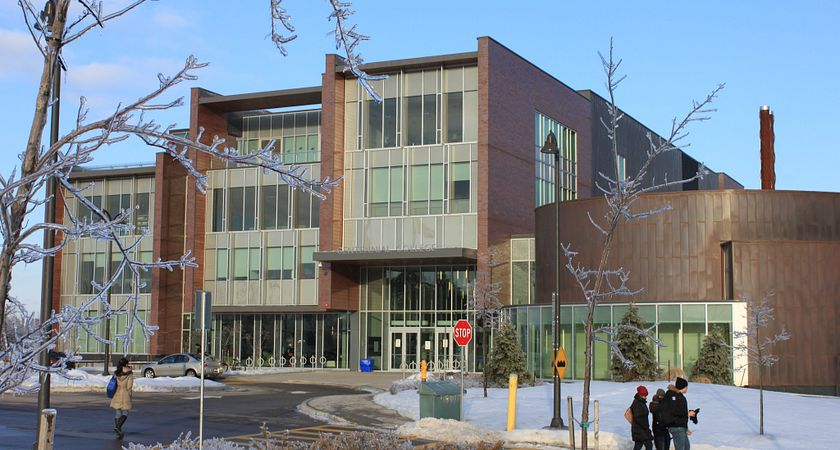 Exterior shot of progress campus during the ice storm
