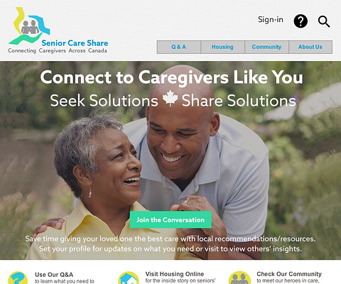 Picture of the Senior Care Share website homepage