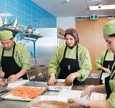 Three Culinary Students in the Hospitality Lab
