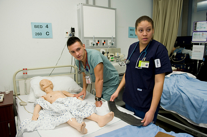Picture of Centennial College students at one of the hospital labs