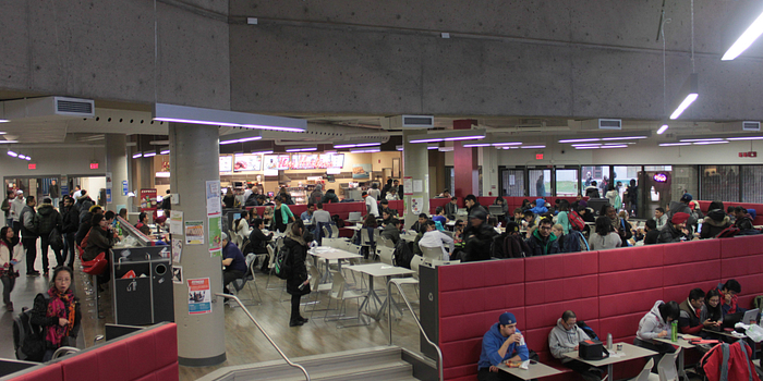 picture of the Progress Campus cafeteria filled with students in the winter time