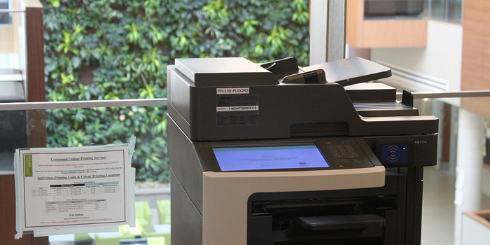 picture of a printer in the centennial college progress campus library