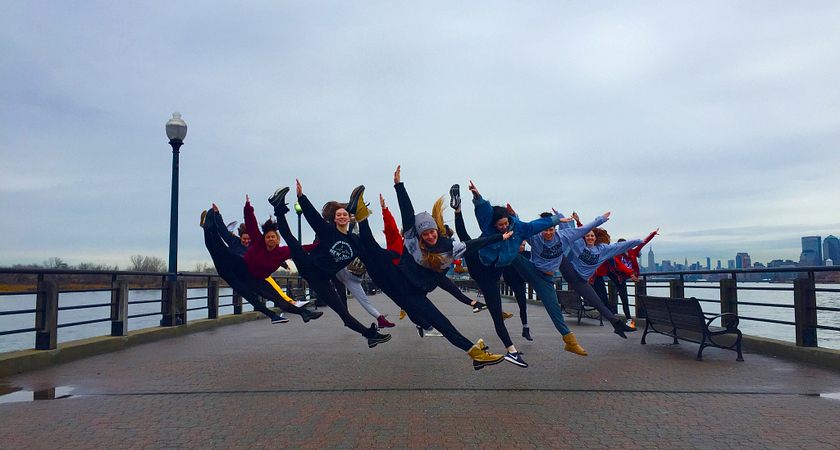 Dance - Performance students jumping on New York City pier