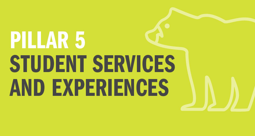 Picture of bear icon with text that says Pillar 5 Student Services and Experiences
