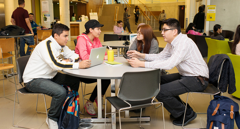 picture of centennial college international students practicing speaking english with one another
