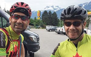 Picture of Centennial College Manager of the Centre for Academic Quality Sean Squires and Nir Meltzer on their journey biking across Canada