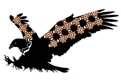 Silhouette of an eagle with decorative orange patterns on its feathers