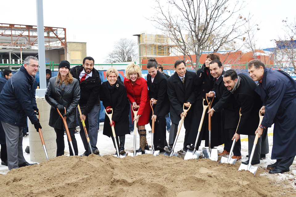 Photo of Ann Buller breaking the ground at the Downsview Campus renovation project, 2016.