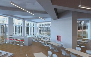 Picture of a rendering of the Centennial College Progress Campus Cafe interior expansion project.