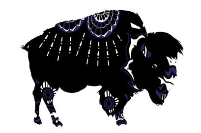 Silhouette of a buffalo with decorative patterns