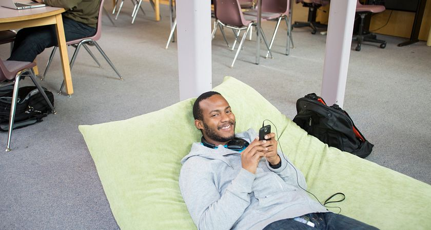 Centennial College student relaxing during the Holiday Break