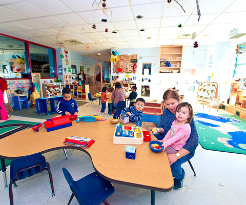 Children and parents in the Centennial College Daycare