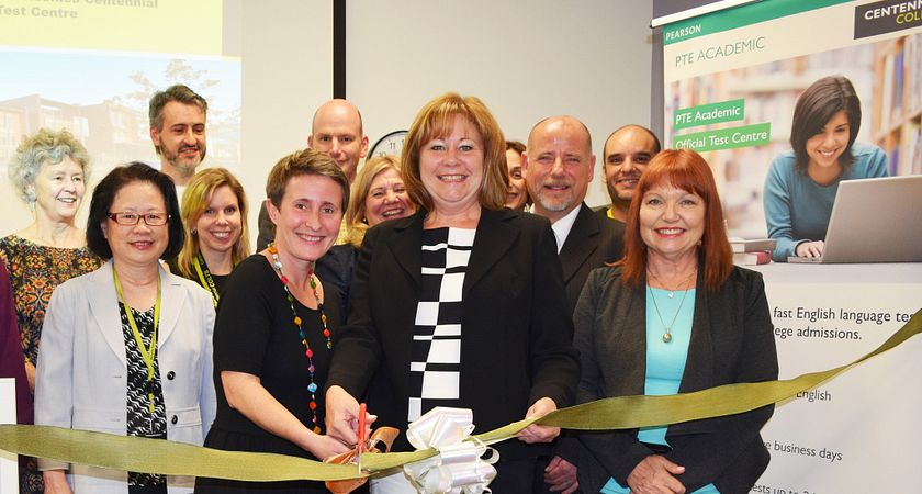 Picture of the PTE Test Centre Ribbon Cutting Ceremony at the Centennial College Progress Campus Assessment Centre