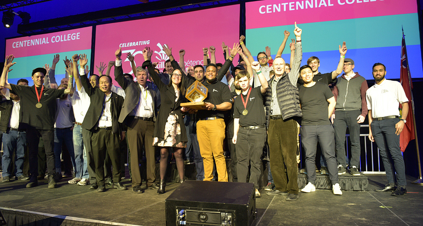 picture of Centennial College on stage at Skills Ontario 2019