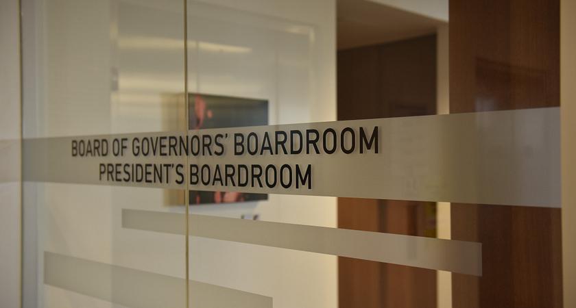 Board of Governors President's Boardroom door