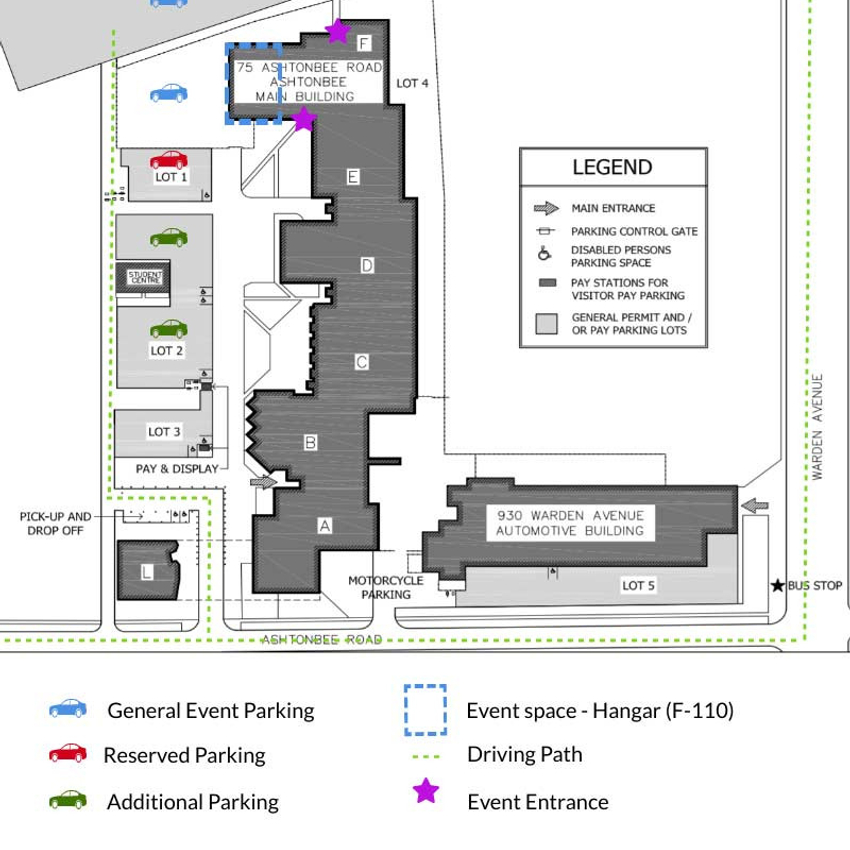 Ashtonbee campus event entrance and exit map